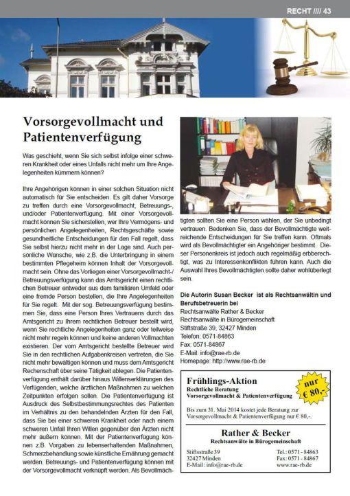 Artikel über Vorsorgevollmacht und Patientenverfügung von Rechtsanwältin Susan Becker im Senioren Journal Ausgabe 42 (April/Mai 2014 - Rubrik Recht - Seite 43)